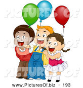 Vector Clipart of Three Cute Happy Children Laughing and Holding Balloons at a Birthday Party by BNP Design Studio