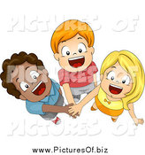 Vector Clipart of Three Happy Diverse Children Joining Forces with Their Hands In, Looking up by BNP Design Studio