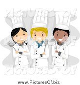 Vector Clipart of Three Happy Female Chefs by BNP Design Studio
