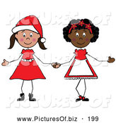 Vector Clipart of Two Christmas Stick Girls Holding Hands, on White by Pams Clipart