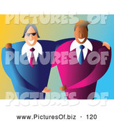 Vector Clipart of Two Happy Male Business Partners Working Together by Prawny