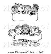 Vector Clipart of Two Scenes of Diverse Groups of Children Holding up Blank Signs and Banners by C Charley-Franzwa