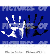 Vector Clipart of Two White and Black Hand Prints on a Blue Background by Elaineitalia