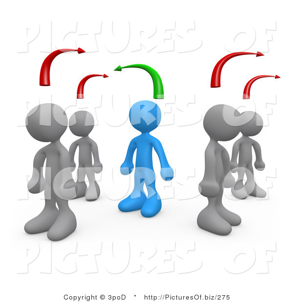 Clipart of 3d Blue Person Standing by Different Minded People