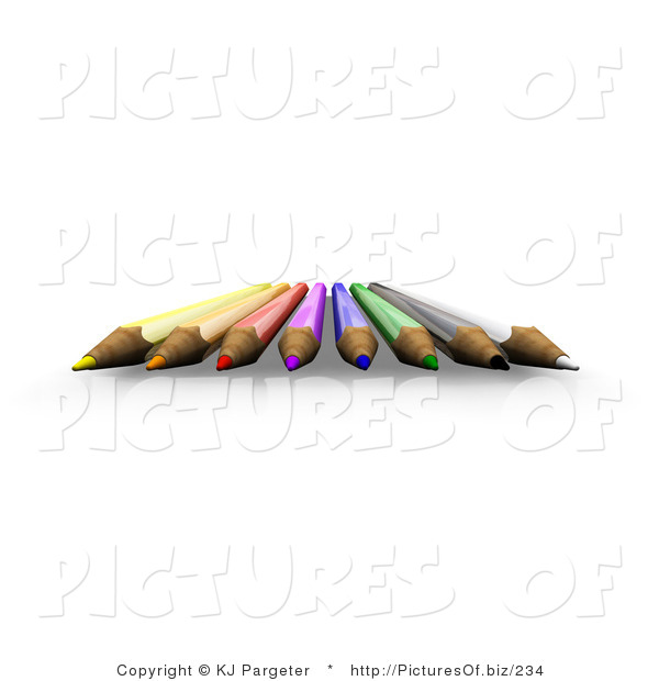 Clipart of 3d Colored Pencil Tips