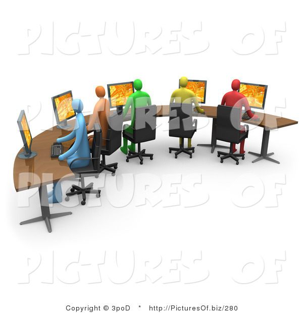 Clipart of 3d Colorful Office Workers Using Computers on a Curved Desk