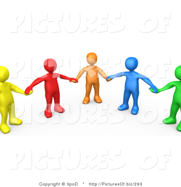 Clipart of 3d Colorful People Holding Hands in Support