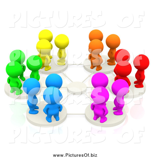 Clipart of 3d Colorful People on Network Pods