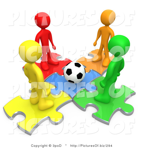 Clipart of 3d Colorful Soccer People Standing on Puzzle Pieces