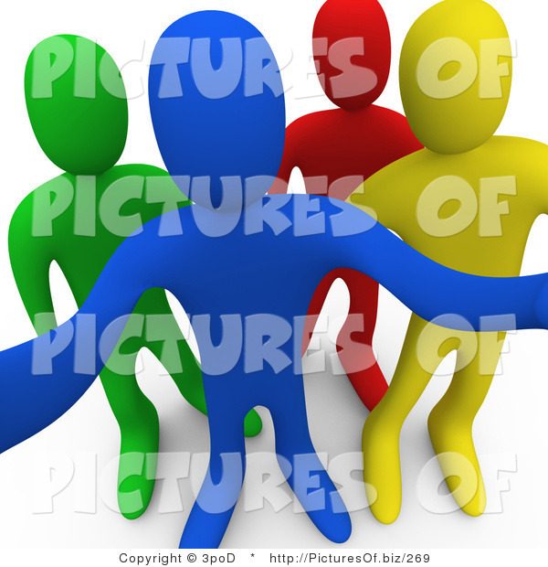 Clipart of 3d Curious Diverse People