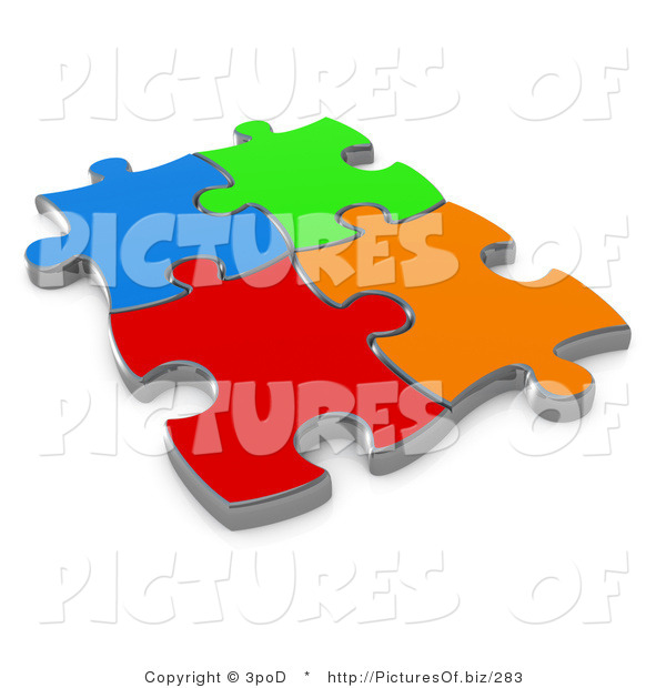 Clipart of 3d Different Colored Puzzle Pieces Connected