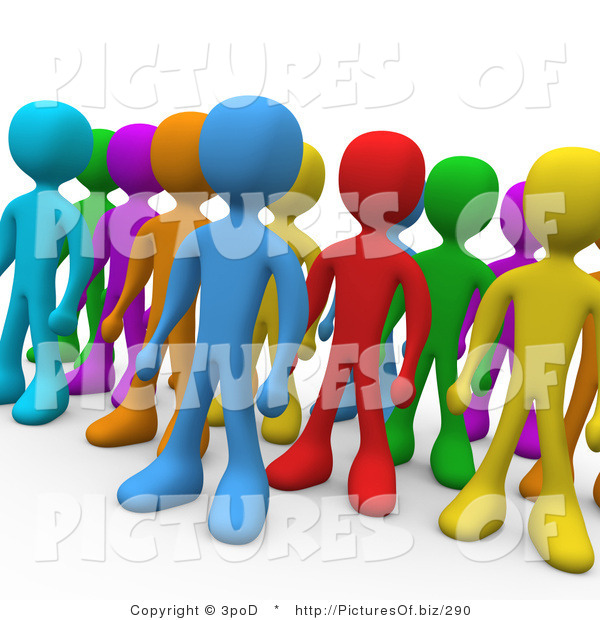 Clipart of 3d Diverse Colored People Standing in a Group