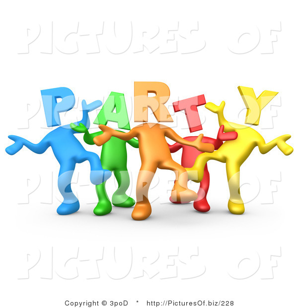 Clipart of 3d Diverse Party Headed People