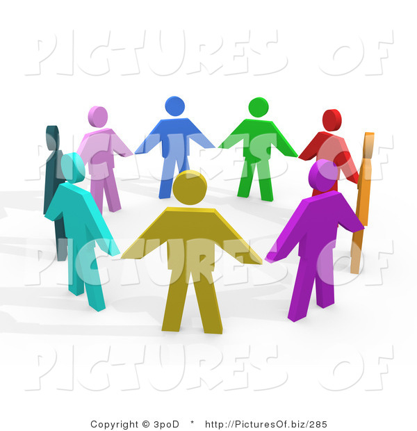 Clipart of 3d Diverse People Holding Hands