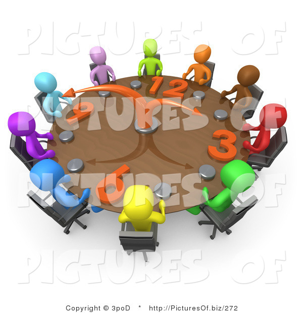 Clipart of 3d Diverse People on a Tight Schedule Holding a Meeting About Labour Hours Around a Giant Clock Conference Table