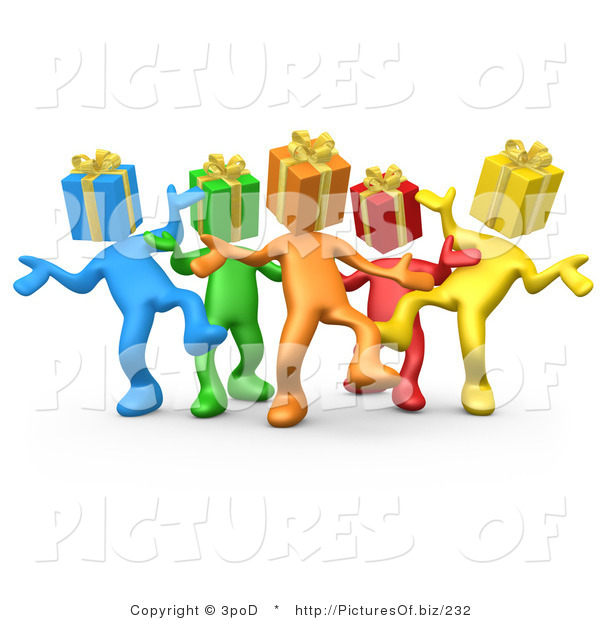Clipart of 3d Diverse Present Head People Dancing