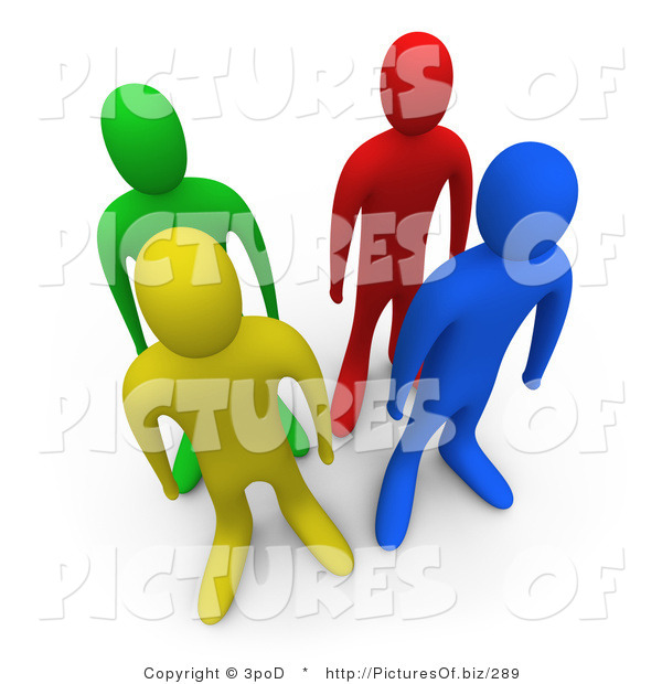 Clipart of 3d Green Red Blue and Yellow People