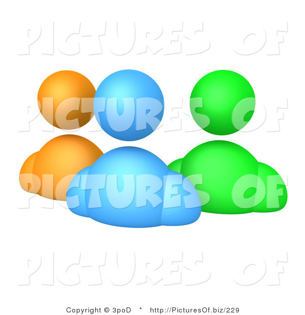 Clipart of 3d Orange Blue aNd Green Avatars