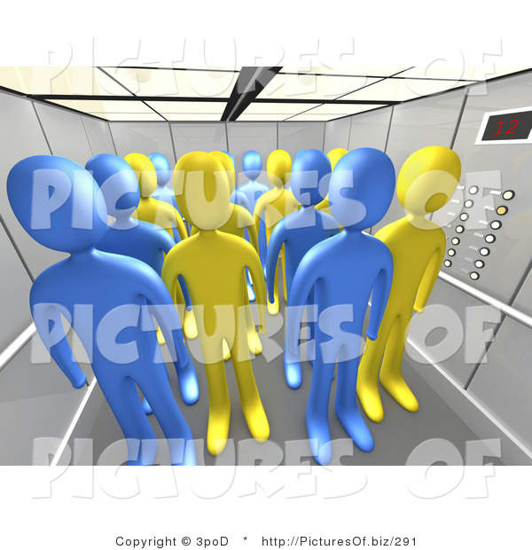 Clipart of 3d People in an Office Elevator