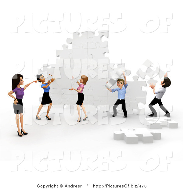 Clipart of a 3d Business Team Assembling a Puzzle