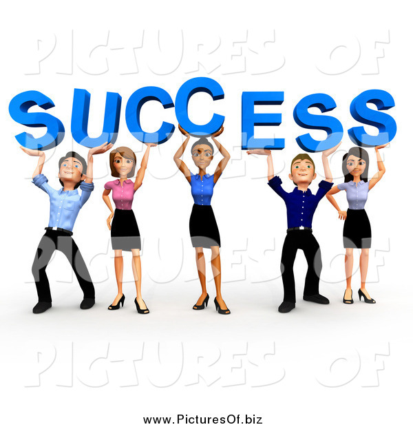 Clipart of a 3d Business Team Holding up SUCCESS
