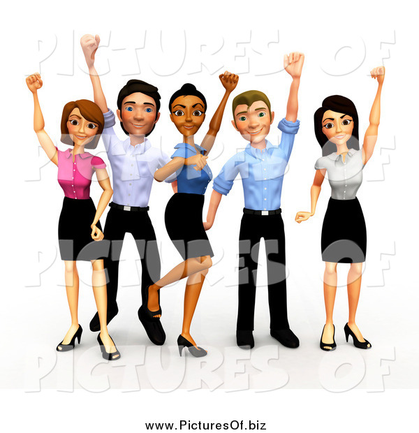 Clipart of a 3d Celebrating Diverse Business Team