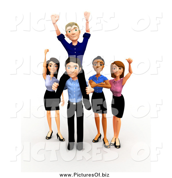 Clipart of a 3d Celebrating Diverse Successful Business Team