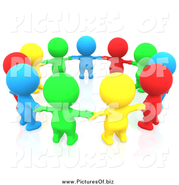 Clipart of a 3d Circle of Colorful People Holding Hands in a Circle