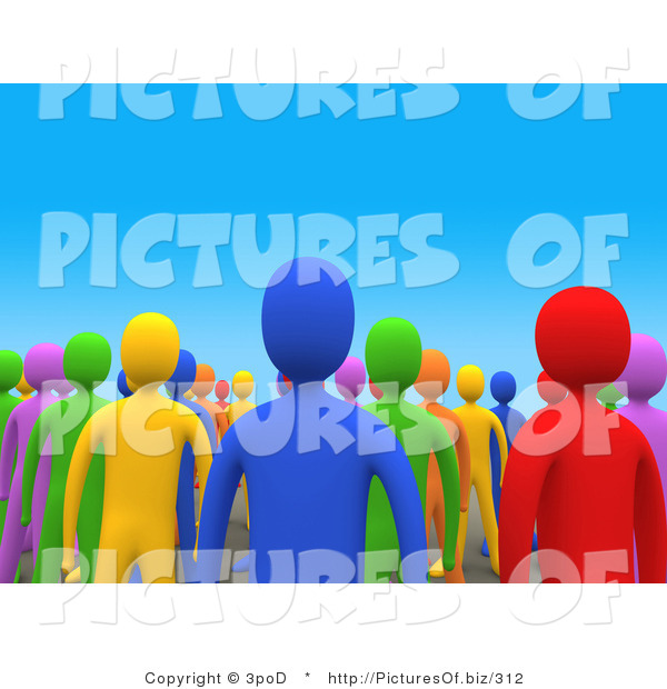Clipart of a 3d Crowd of Colorful People