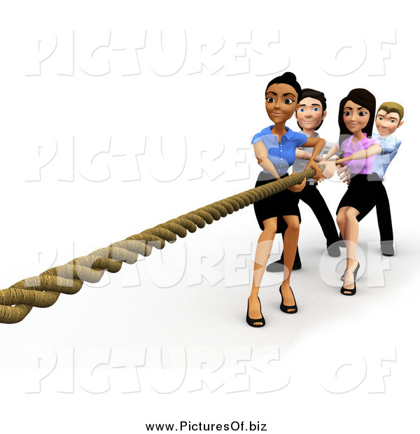 Clipart of a 3d Diverse Business Team Engaged in Tug of War