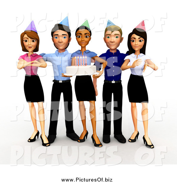 Clipart of a 3d Diverse Business Team Holding a Birthday Office Party