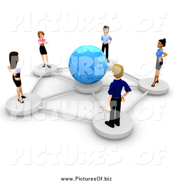 Clipart of a 3d Diverse Business Team Networked Around a Blue Globe