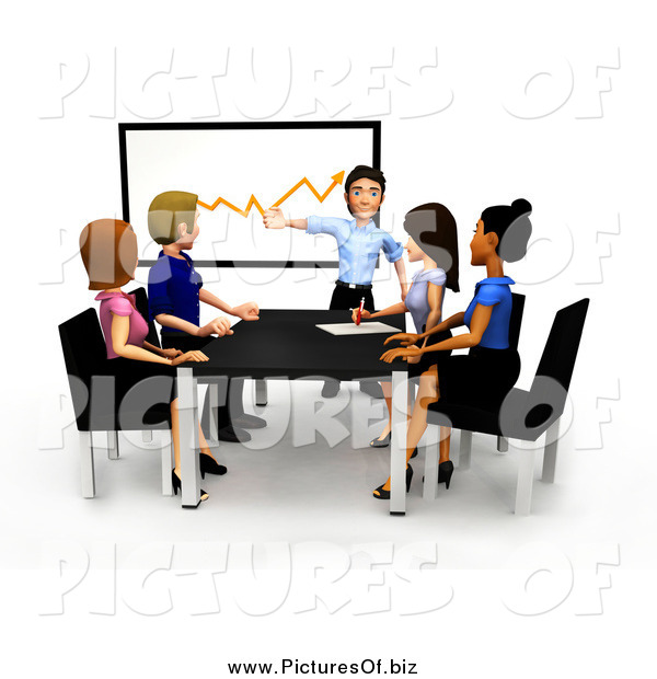 Clipart of a 3d Diverse Young Business Team Discussing a Chart