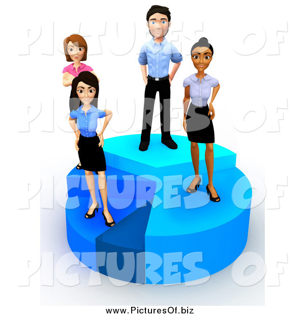Clipart of a 3d Diverse Young Business Team Standing on a Pie Chart