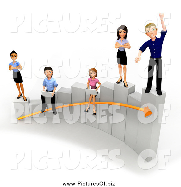 Clipart of a 3d Diverse Young Business Team Working on a Bar Graph