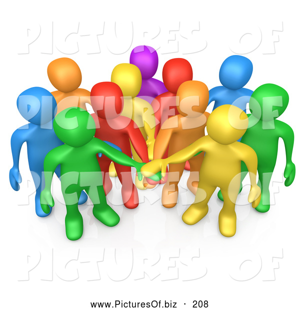 Clipart of a 3d Group of Diverse Colorful People Putting Their Hands in a Pile, Making a Pact