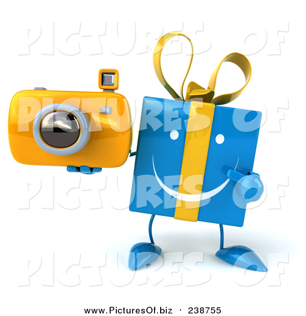 Clipart of a 3d Happy Blue Gift Character Holding and Pointing to a Yellow Camera
