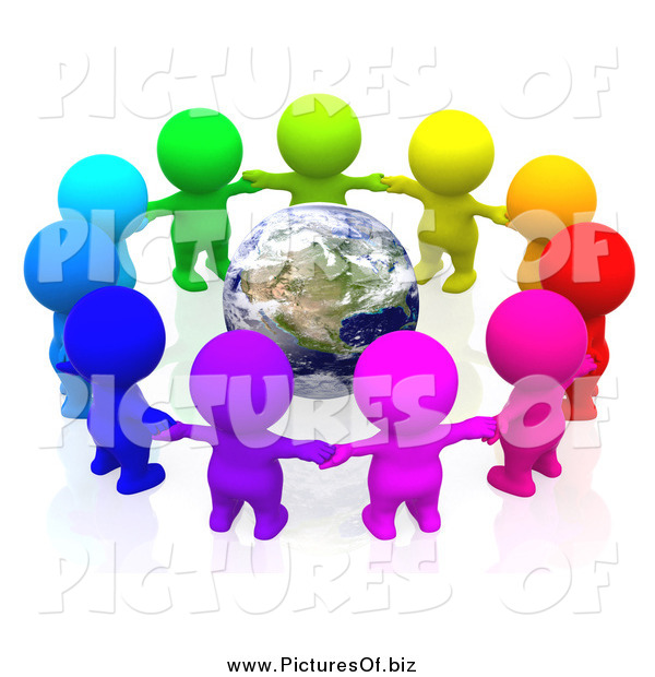 Clipart of a 3d Team of Colorful People Holding Hands in a Circle Around Earth