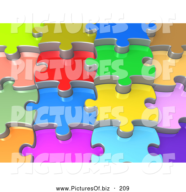 Clipart of a Background of 3d Colorful Shiny Layers of Interlocking Jigsaw Puzzle Pieces