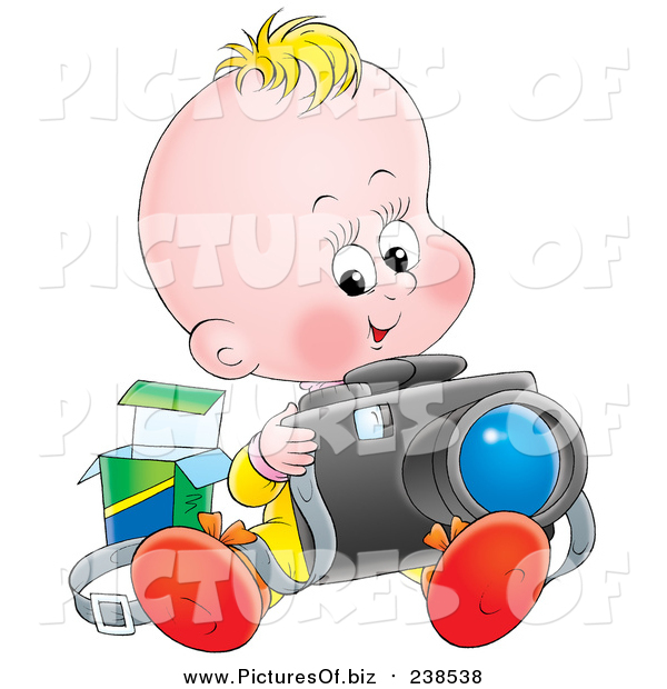 Clipart of a Blond White Baby Sitting and Taking Pictures with a Camera