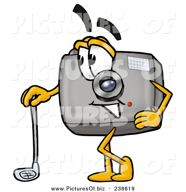 Clipart of a Camera Mascot Leaning on a Golf Club While Golfing