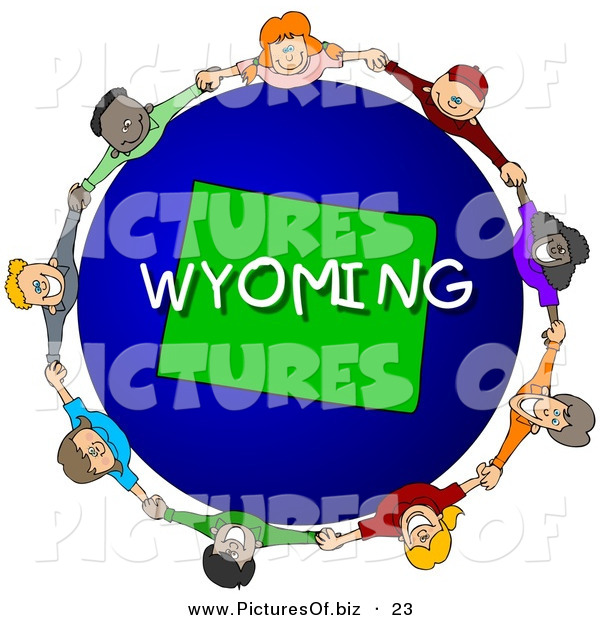 Clipart of a Children Holding Hands in a Circle Around a Blue and Green Wyoming Globe