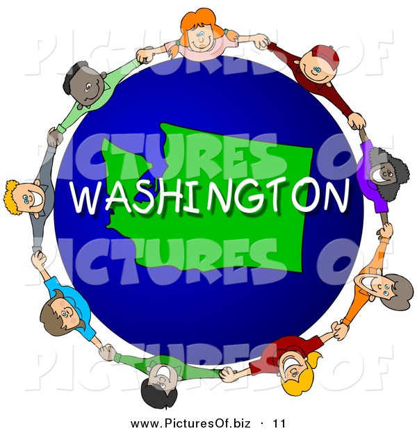 Clipart of a Children Holding Hands in a Circle Around a Blue Washington Globe