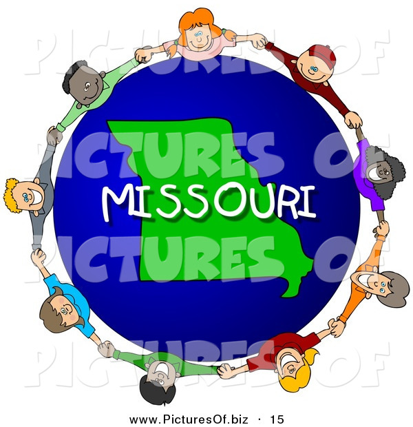 Clipart of a Children Holding Hands in a Circle Around a Globe Focused on Missouri