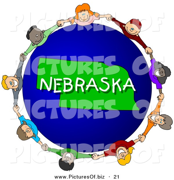 Clipart of a Children Holding Hands in a Circle Around a Green and Blue Nebraska Globe