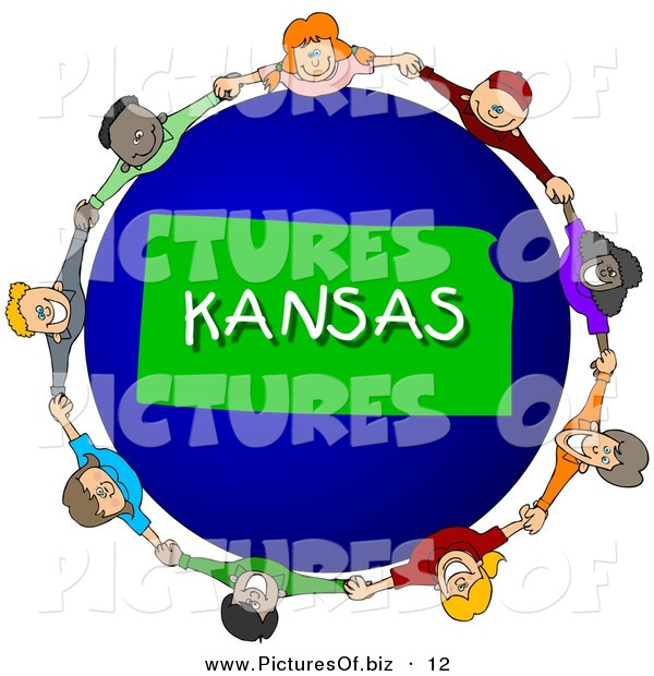 Clipart of a Children Holding Hands in a Circle Around a Green Kansas Globe