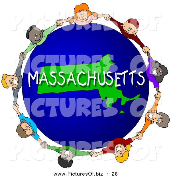 Clipart of a Children Holding Hands in a Circle Around a Green Massachusetts Globe