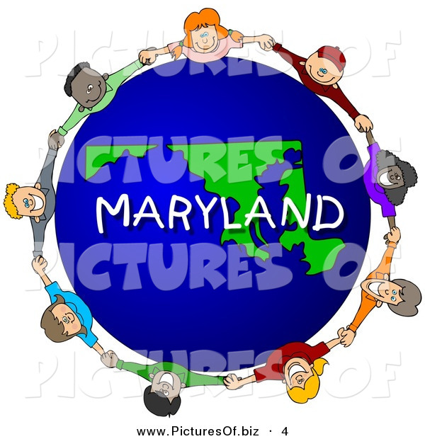 Clipart of a Children Holding Hands in a Circle Around a Maryland Earth Globe