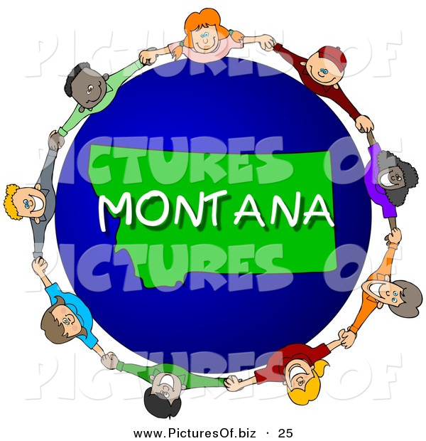 Clipart of a Children Holding Hands in a Circle Around a Montana World Globe