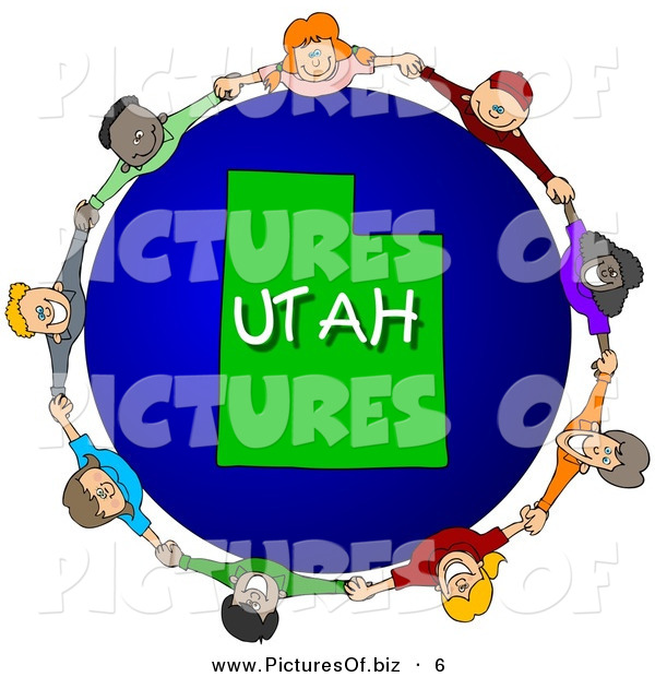 Clipart of a Children Holding Hands in a Circle Around a Utah Earth Globe